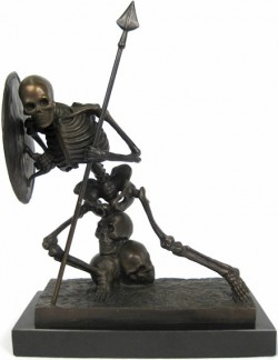 Picture of Skeleton Warrier Bronze Sculpture On Marble Base 33cm tall