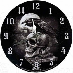 Picture of Poes Raven Skull Clock ALCHEMY GOTHIC