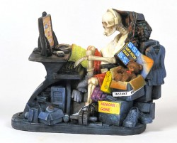 Picture of Internet Addiction Skeleton Figurine