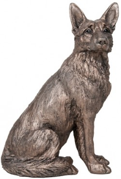 Picture of Duke German Shepherd Dog Sitting Bronze Sculpture Harriet Dunn 28 cm