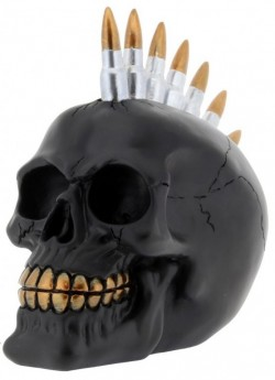 Picture of Bullet Skull Black and Gold Ornament