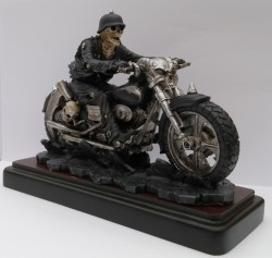 Picture of Hell on the Highway Skeleton Biker Figurine with Wooden Base James Ryman