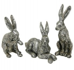 Picture of Set of 3 Champagne Bronze Hare Sculptures