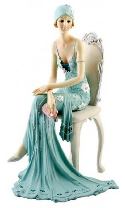Picture of Teal Broadway Belles Lady on Chair 25 cm