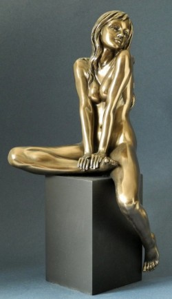 Picture of Bronze Nude Female Figurine on Plinth LARGE 37 cm