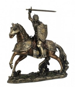 Picture of Knight on Horse with Sword Bronze Figurine NEW
