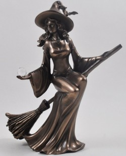 Picture of Bronze Witch Riding Broom Figurine