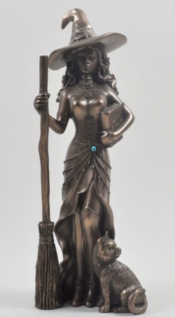 Picture of Bronze Witch with Cat Figurine