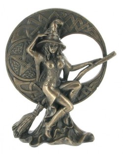 Picture of Bronze Witch with Celtic Moon Figurine