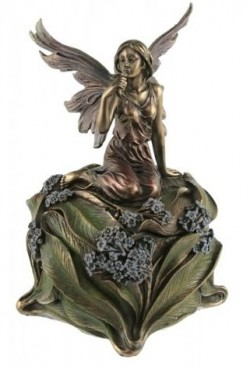 Picture of Fairy Holding Flower Trinket Box Bronze