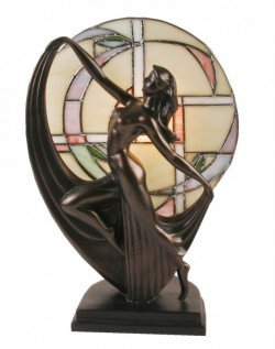 Picture of Art Deco Bronze Lady Dancer Lamp Glass Tiffany