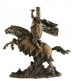 Picture of Knight with Axe on Horse Bronze Figurine