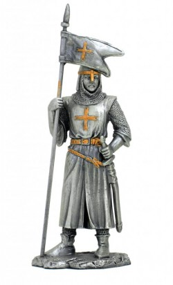 Picture of Crusader with Flag Pewter Figurine