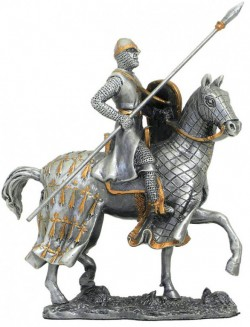 Picture of Crusader on Horse with Spear Pewter Figurine