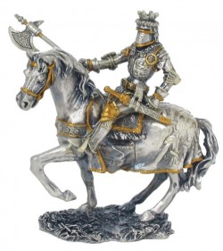 Picture of Knight on Horse with Axe Pewter Figurine