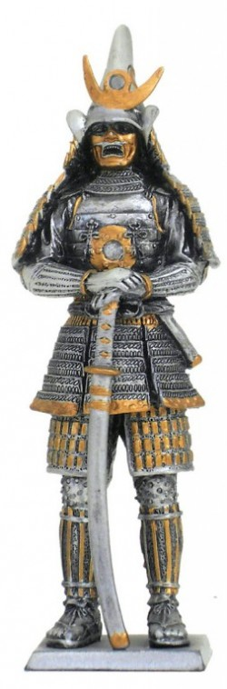 Picture of Samurai Warrior Wearing Mask Pewter Figurine NEW