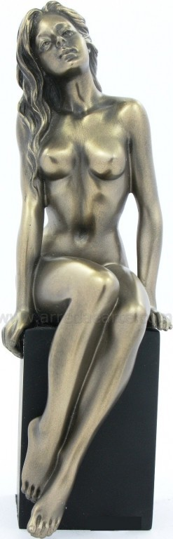 Picture of Nude Girl Sitting on Plinth Bronze Figurine