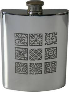 Picture of Medieval Design Pewter Hip Flask