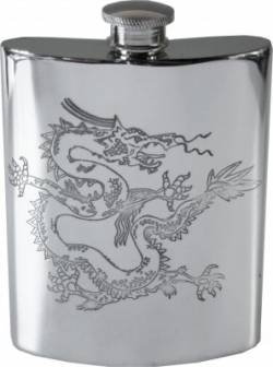 Picture of Chinese Dragon Pewter Hip Flask