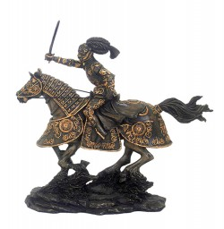Picture of Medieval Knight Charging Bronze Figurine