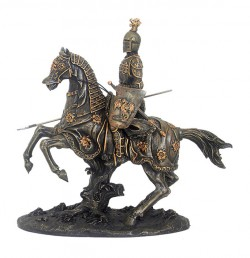 Picture of Mounted Knight with Spear and Shield Bronze Figurine