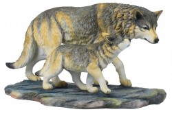 Picture of Wolf and Cub Walking Figurine