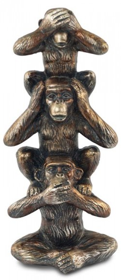 Picture of Three Wise Monkeys Tower Bronze Ornament