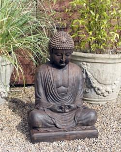 Picture of Meditating Buddha Stone Statue Burnt Umber Finish