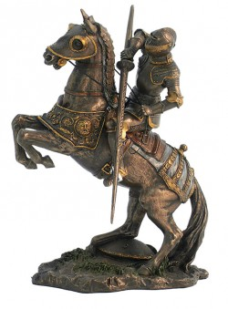 Picture of Medieval Knight with Lance Pointing Downwards Bronze Figurine