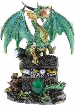 Picture of Emeraldfyre Dragon Sitting on Treasure Chest