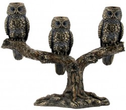Picture of 3 Owls Candlestick Holders