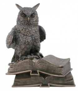 Picture of Wise Owl on Books Bronze Figurine Long Eared NEW