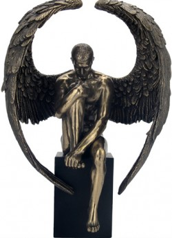 Picture of Male Angel on Plinth Bronze Figurine 26cm
