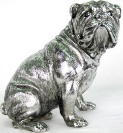 Picture of Silver Bulldog Sitting 19cm