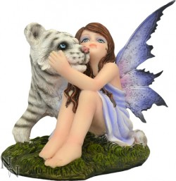 Picture of Fairy and White Tiger Figurine 12cm