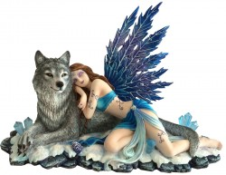 Picture of Lupiana and the Wolf Figurine 34cm