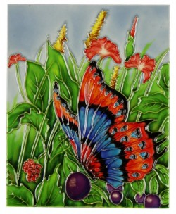 Picture of Butterfly Colourful Decorative Tile (Old Tupton Ware)