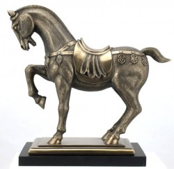 Picture of Ornate Horse Bronze Figurine on Black Base
