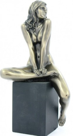 Picture of Nude Girl Sitting on Plinth Leg Up Bronze Figurine