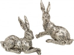 Picture of Champagne Bronze Resting Hares Sculpture Set of Two