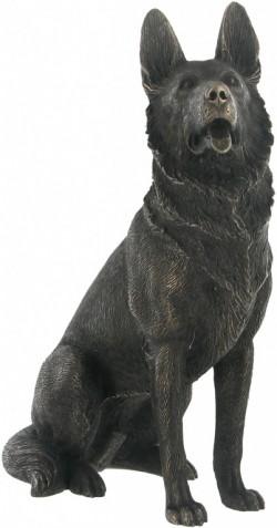 Picture of German Shepherd Dog Sitting Bronze Dog Sculpture