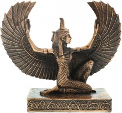 Picture of Egyptian Winged Isis Kneeling Figurine Copper Finish (Juliana)