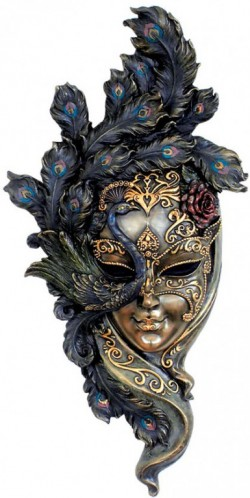 Picture of Venetian Mask Peacock Wall Plaque