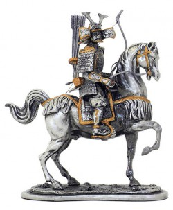 Picture of Samurai Warrior Horseback Archery Pewter Figurine NEW
