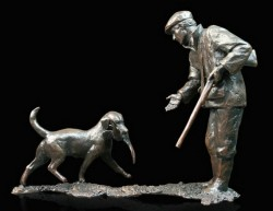 Picture of First Retrieve Man and Dog Bronze Figurine (Limited Edition) Michael Simpson