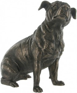 Picture of Staffordshire Bull Terrier Dog Sitting Bronze Sculpture