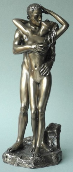Picture of Loves Caress Bronze Nude Couple Figurine 28cm