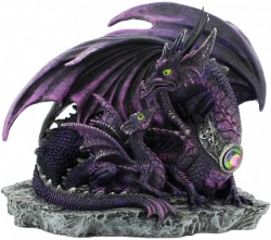 Picture of Dark Dragon with Youngling Dragon Figurine 19cm