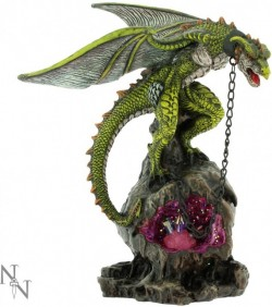 Picture of Chained Green Dragon Figurine with Crystal Light Feature 22cm
