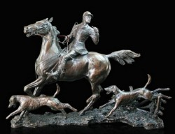 Picture of Doubling the Horn Solid Bronze Hunting Figurine (Limited Edition) David Geenty